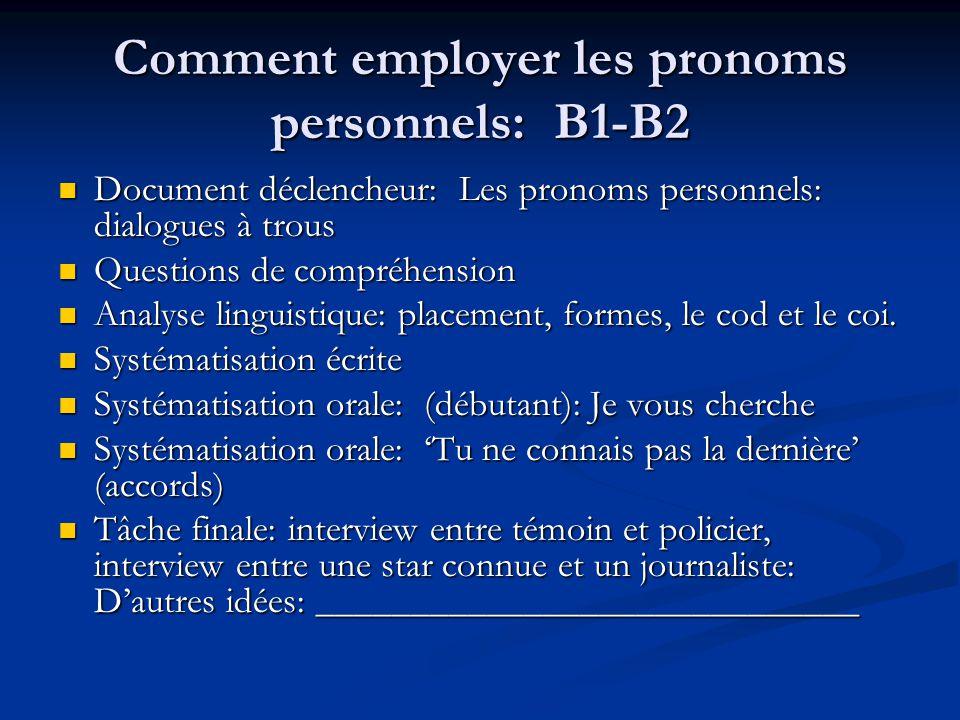Comment employer les pronoms personnels: B1-B2 Document déclencheur: Les pronoms personnels: dialogues à trous Document déclencheur: Les pronoms perso
