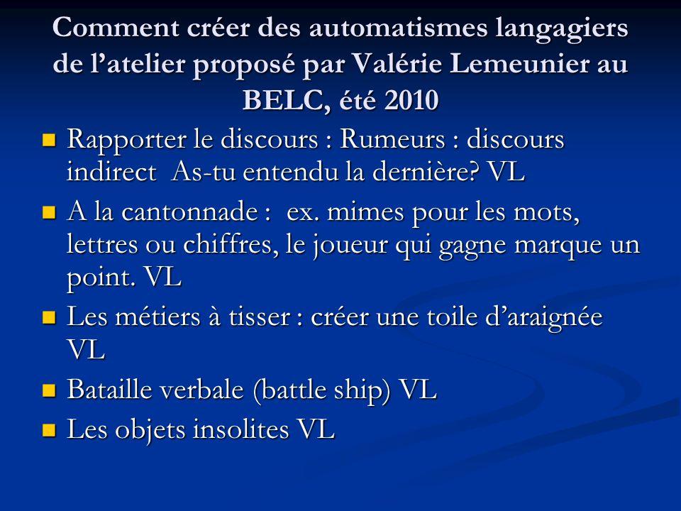 Comment créer des automatismes langagiers de l'atelier proposé par Valérie Lemeunier au BELC, été 2010 Rapporter le discours : Rumeurs : discours indi