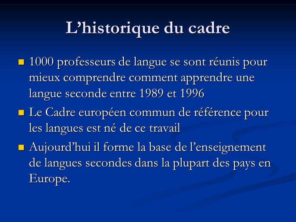 L'historique du cadre 1000 professeurs de langue se sont réunis pour mieux comprendre comment apprendre une langue seconde entre 1989 et 1996 1000 pro