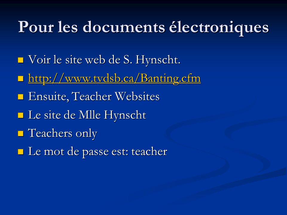 Pour les documents électroniques Voir le site web de S. Hynscht. Voir le site web de S. Hynscht. http://www.tvdsb.ca/Banting.cfm http://www.tvdsb.ca/B