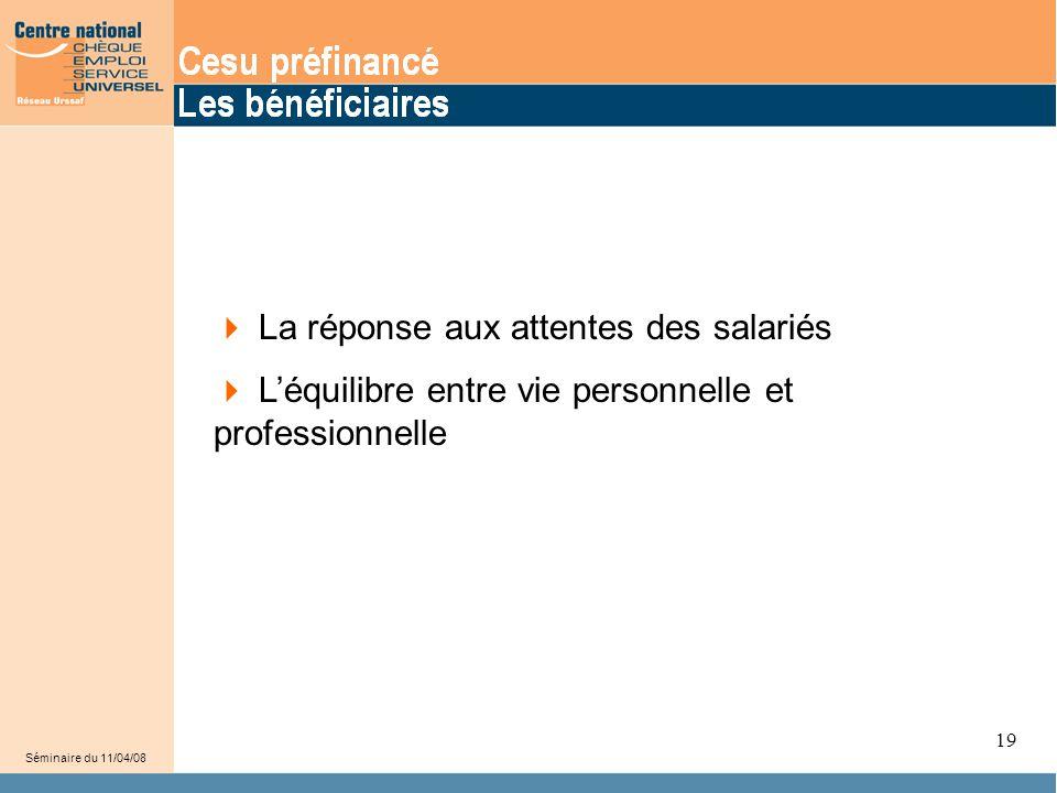 21 Séminaire du 11/04/08 19  La réponse aux attentes des salariés  L'équilibre entre vie personnelle et professionnelle