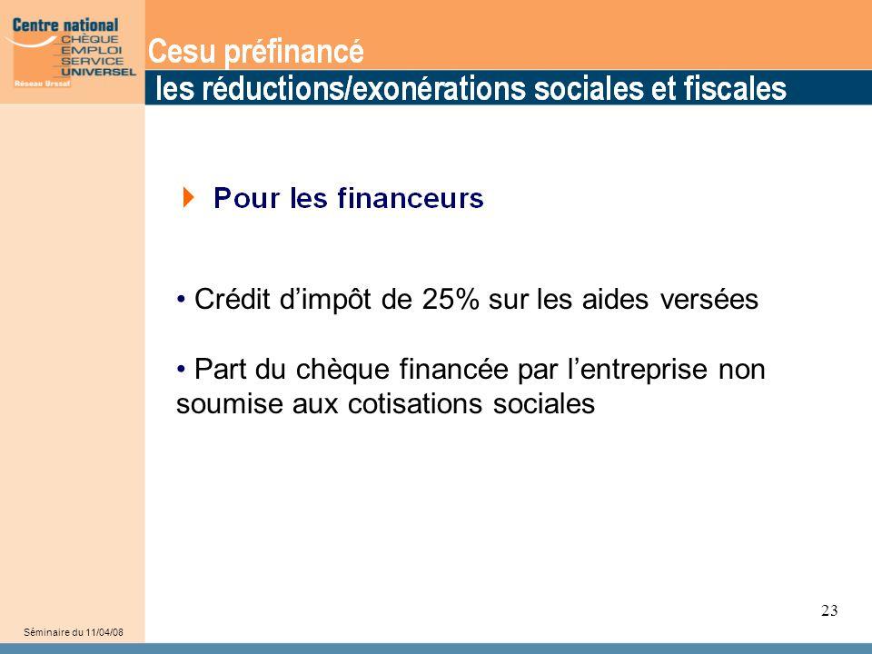 28 Crédit d'impôt de 25% sur les aides versées Part du chèque financée par l'entreprise non soumise aux cotisations sociales Séminaire du 11/04/08 23