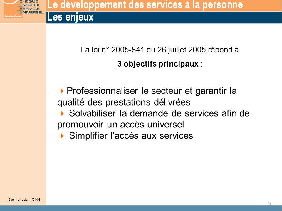 3  Professionnaliser le secteur et garantir la qualité des prestations délivrées  Solvabiliser la demande de services afin de promouvoir un accès un