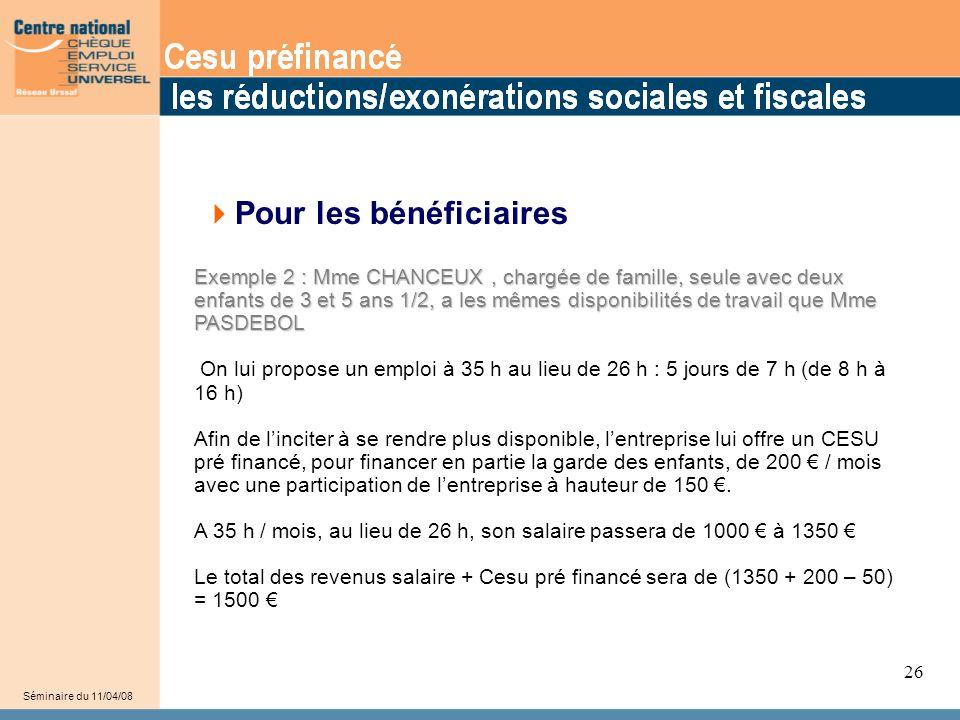 32 Séminaire du 11/04/08 26  Pour les bénéficiaires Exemple 2 : Mme CHANCEUX, chargée de famille, seule avec deux enfants de 3 et 5 ans 1/2, a les mêmes disponibilités de travail que Mme PASDEBOL On lui propose un emploi à 35 h au lieu de 26 h : 5 jours de 7 h (de 8 h à 16 h) Afin de l'inciter à se rendre plus disponible, l'entreprise lui offre un CESU pré financé, pour financer en partie la garde des enfants, de 200 € / mois avec une participation de l'entreprise à hauteur de 150 €.