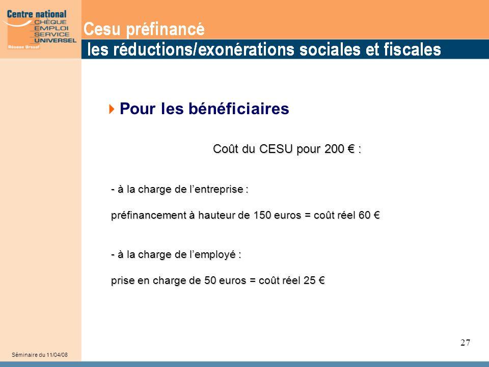 33 Séminaire du 11/04/08 27  Pour les bénéficiaires Coût du CESU pour 200 € : - à la charge de l'entreprise : - à la charge de l'entreprise : préfina