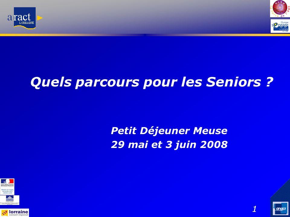 1 Quels parcours pour les Seniors ? Petit Déjeuner Meuse 29 mai et 3 juin 2008