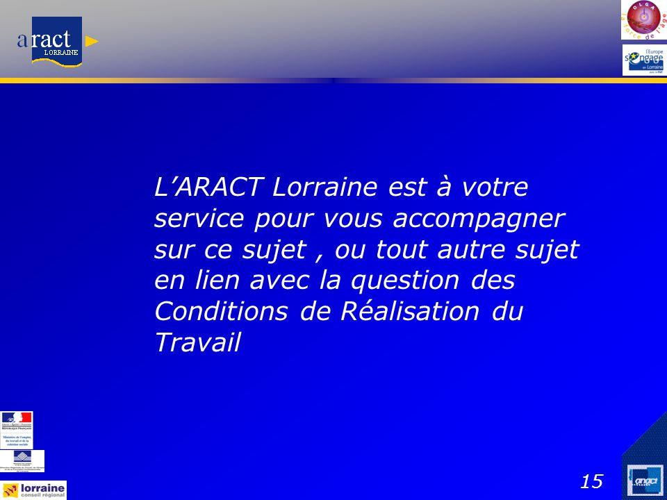 15 L'ARACT Lorraine est à votre service pour vous accompagner sur ce sujet, ou tout autre sujet en lien avec la question des Conditions de Réalisation
