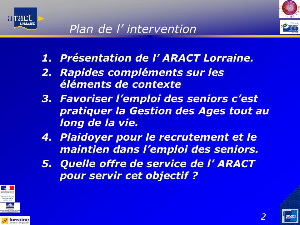 2 Plan de l' intervention 1.Présentation de l' ARACT Lorraine. 2.Rapides compléments sur les éléments de contexte 3.Favoriser l'emploi des seniors c'e