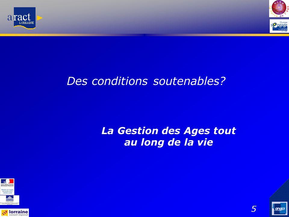 5 Des conditions soutenables? La Gestion des Ages tout au long de la vie
