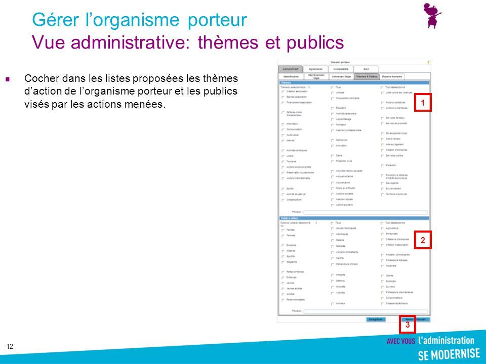 12 Gérer l'organisme porteur Vue administrative: thèmes et publics Cocher dans les listes proposées les thèmes d'action de l'organisme porteur et les