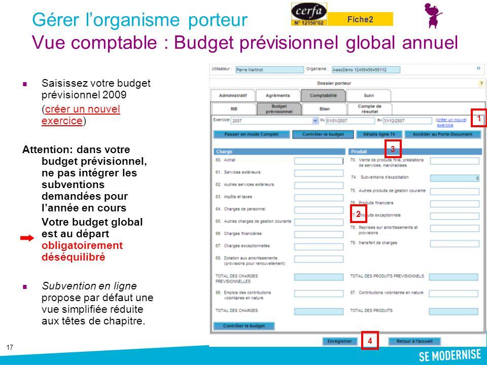 17 Gérer l'organisme porteur Vue comptable : Budget prévisionnel global annuel Saisissez votre budget prévisionnel 2009 (créer un nouvel exercice)crée