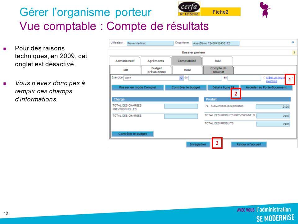 19 Gérer l'organisme porteur Vue comptable : Compte de résultats Pour des raisons techniques, en 2009, cet onglet est désactivé. Vous n'avez donc pas