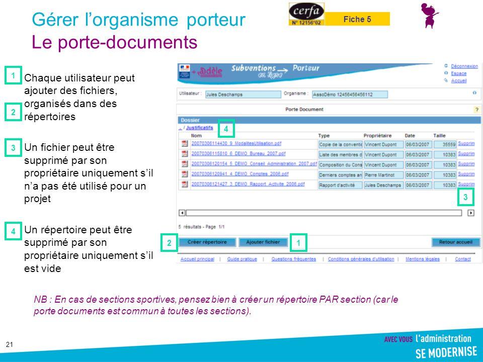 21 Gérer l'organisme porteur Le porte-documents Chaque utilisateur peut ajouter des fichiers, organisés dans des répertoires Un fichier peut être supp