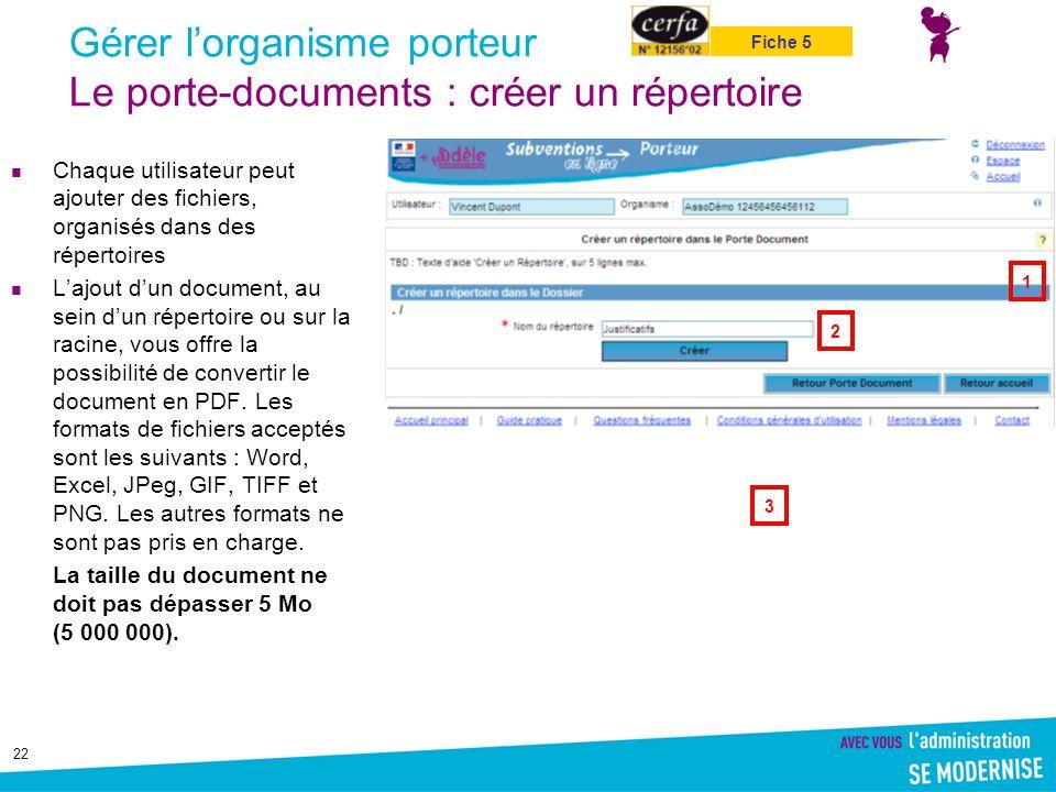 22 Gérer l'organisme porteur Le porte-documents : créer un répertoire Chaque utilisateur peut ajouter des fichiers, organisés dans des répertoires L'a