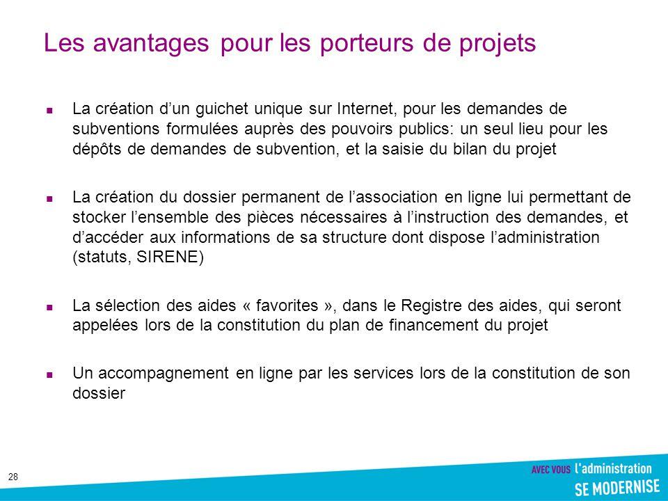 28 Les avantages pour les porteurs de projets La création d'un guichet unique sur Internet, pour les demandes de subventions formulées auprès des pouv