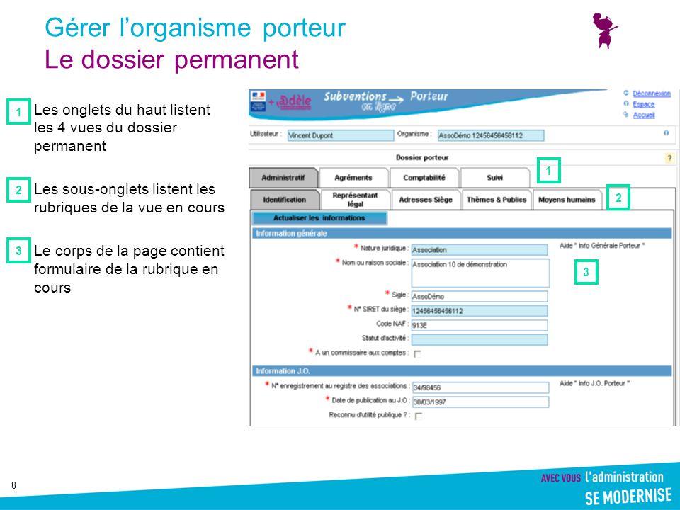 19 Gérer l'organisme porteur Vue comptable : Compte de résultats Pour des raisons techniques, en 2009, cet onglet est désactivé.