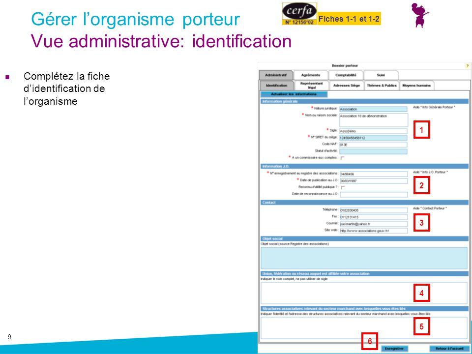 9 Gérer l'organisme porteur Vue administrative: identification Complétez la fiche d'identification de l'organisme 1 2 3 6 4 5 Fiches 1-1 et 1-2