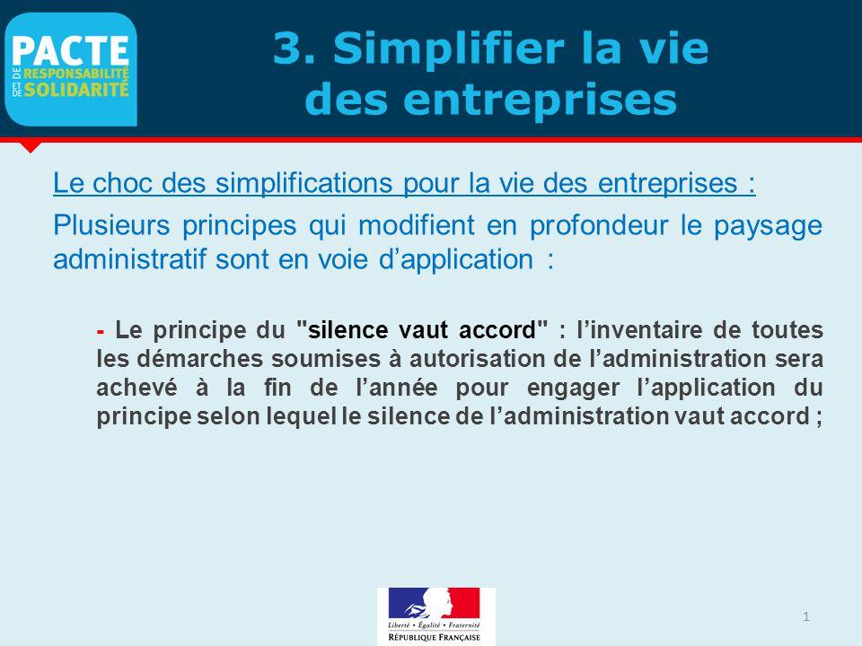 3. Simplifier la vie des entreprises Le choc des simplifications pour la vie des entreprises : Plusieurs principes qui modifient en profondeur le pays