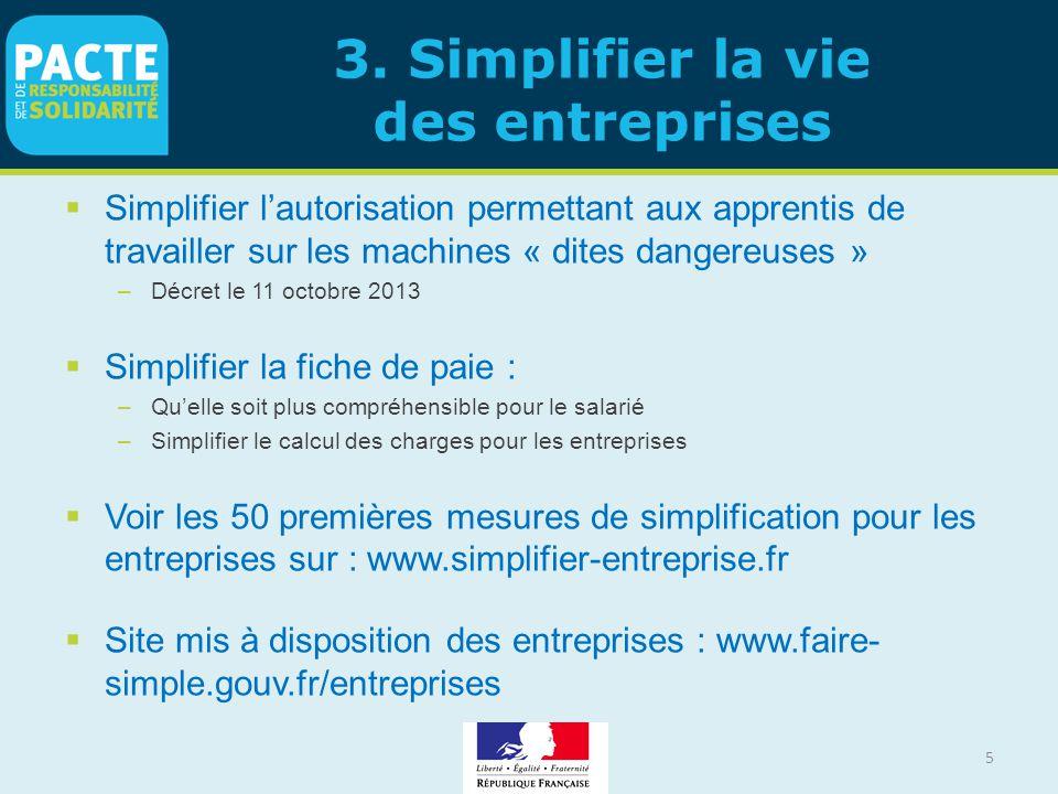 3. Simplifier la vie des entreprises  Simplifier l'autorisation permettant aux apprentis de travailler sur les machines « dites dangereuses » –Décret