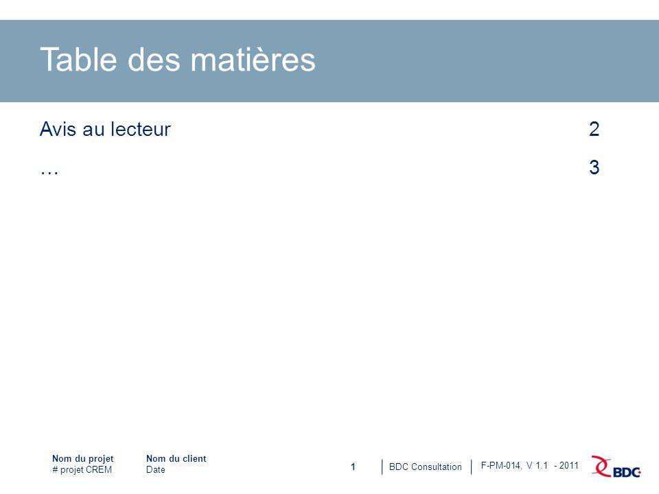 1BDC Consultation Nom du projet # projet CREM F-PM-014, V 1.1 - 2011 Nom du client Date Table des matières Avis au lecteur2 …3