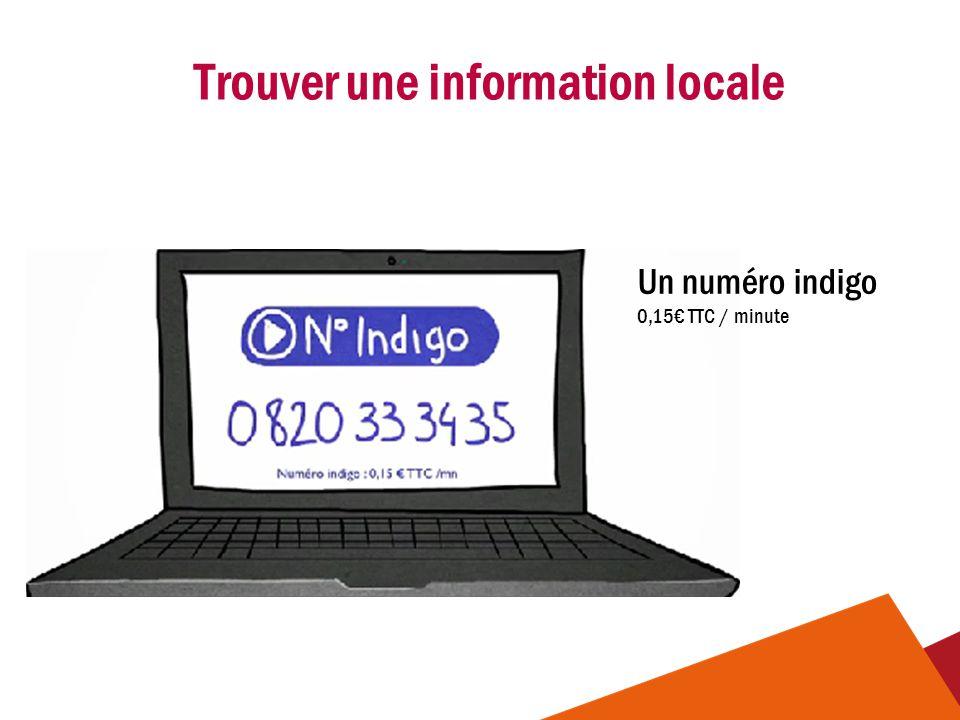 Trouver une information locale Un numéro indigo 0,15€ TTC / minute