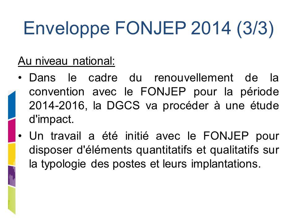 Enveloppe FONJEP 2014 (3/3) Au niveau national: Dans le cadre du renouvellement de la convention avec le FONJEP pour la période 2014-2016, la DGCS va