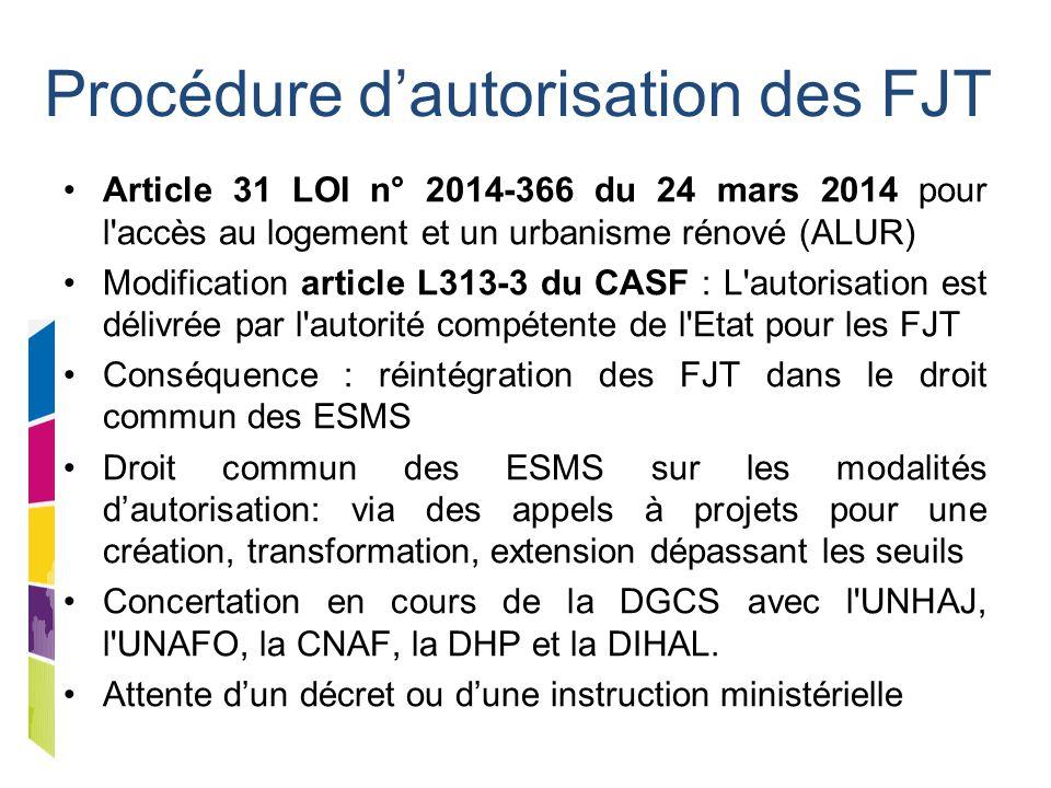 Procédure d'autorisation des FJT Article 31 LOI n° 2014-366 du 24 mars 2014 pour l'accès au logement et un urbanisme rénové (ALUR) Modification articl