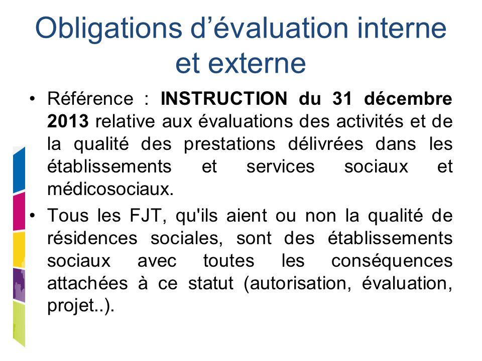 Obligations d'évaluation interne et externe Référence : INSTRUCTION du 31 décembre 2013 relative aux évaluations des activités et de la qualité des pr