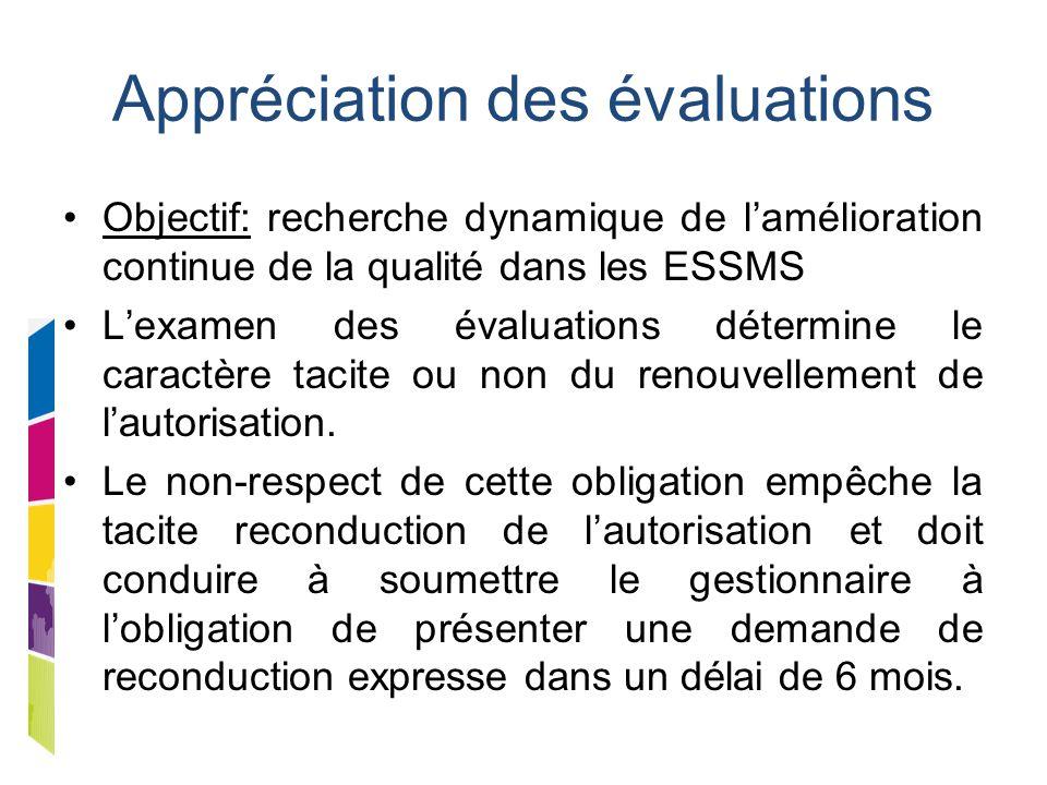 Appréciation des évaluations Objectif: recherche dynamique de l'amélioration continue de la qualité dans les ESSMS L'examen des évaluations détermine