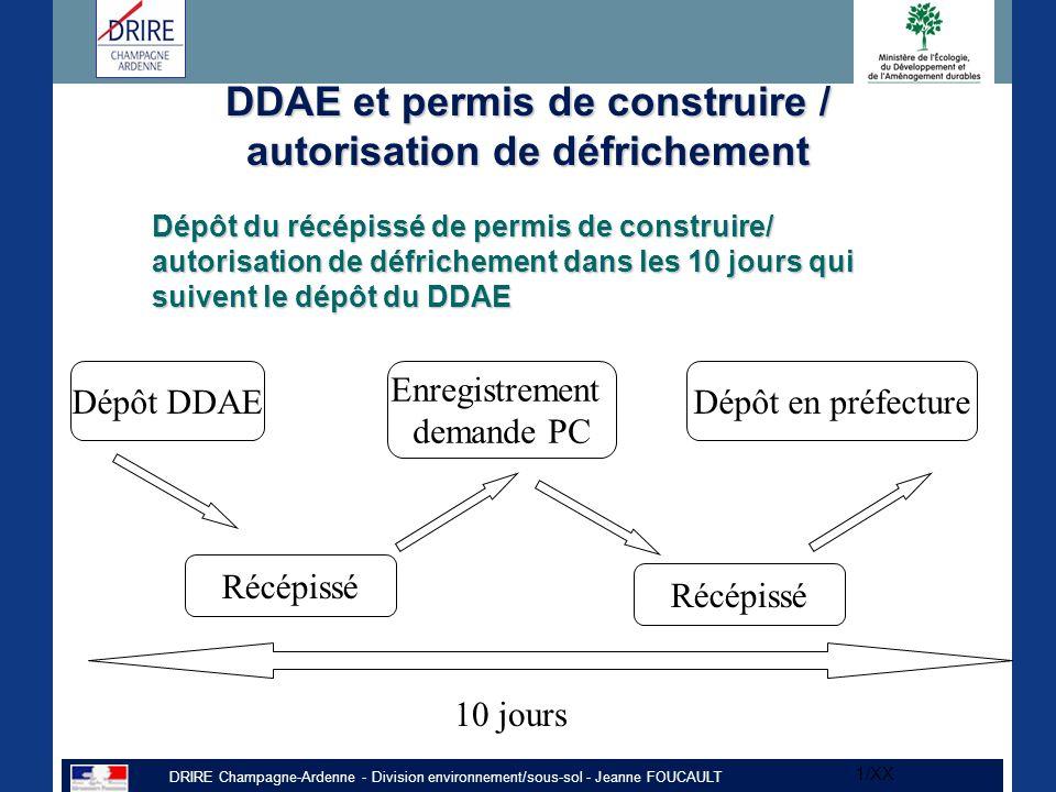 DRIRE Champagne-Ardenne - Division environnement/sous-sol - Jeanne FOUCAULT 1/XX DDAE et permis de construire / autorisation de défrichement Dépôt du récépissé de permis de construire/ autorisation de défrichement dans les 10 jours qui suivent le dépôt du DDAE Dépôt DDAE Récépissé Enregistrement demande PC Récépissé Dépôt en préfecture 10 jours