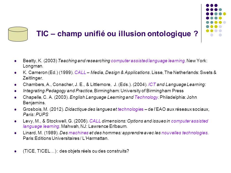 TIC – champ unifié ou illusion ontologique .Beatty, K.