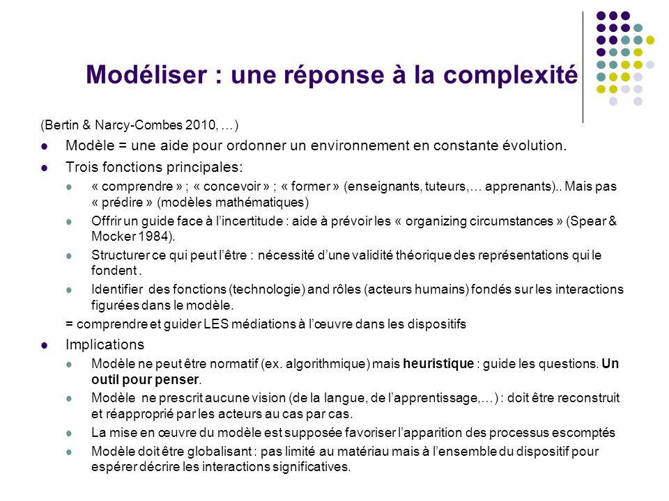 Modéliser : une réponse à la complexité (Bertin & Narcy-Combes 2010, …) Modèle = une aide pour ordonner un environnement en constante évolution.