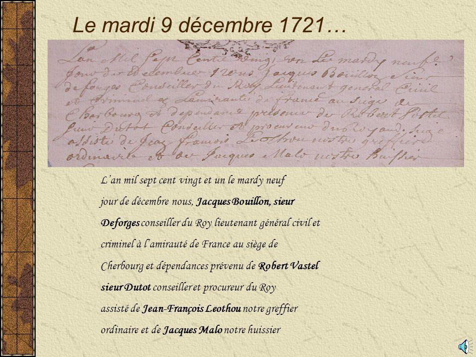 Requête de Pierre Picquenot Monsieur le Lieutenant de l'Amirauté de Cherbourg supplie humblement Pierre Picquenot capitaine de la frégate la reine Ester nous démontre qu'il est en procès devant nous contre Jean Moullin charpentier…