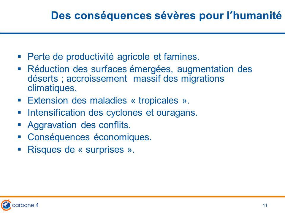 11 Des conséquences sévères pour l'humanité  Perte de productivité agricole et famines.  Réduction des surfaces émergées, augmentation des déserts ;