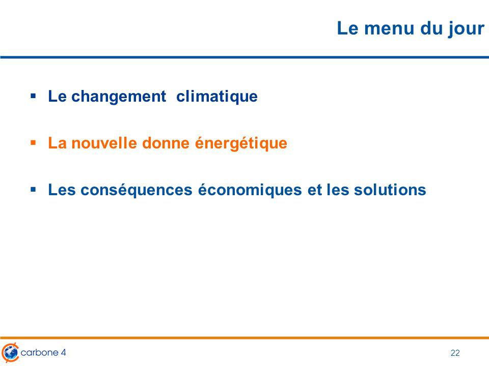 Le menu du jour  Le changement climatique  La nouvelle donne énergétique  Les conséquences économiques et les solutions 22