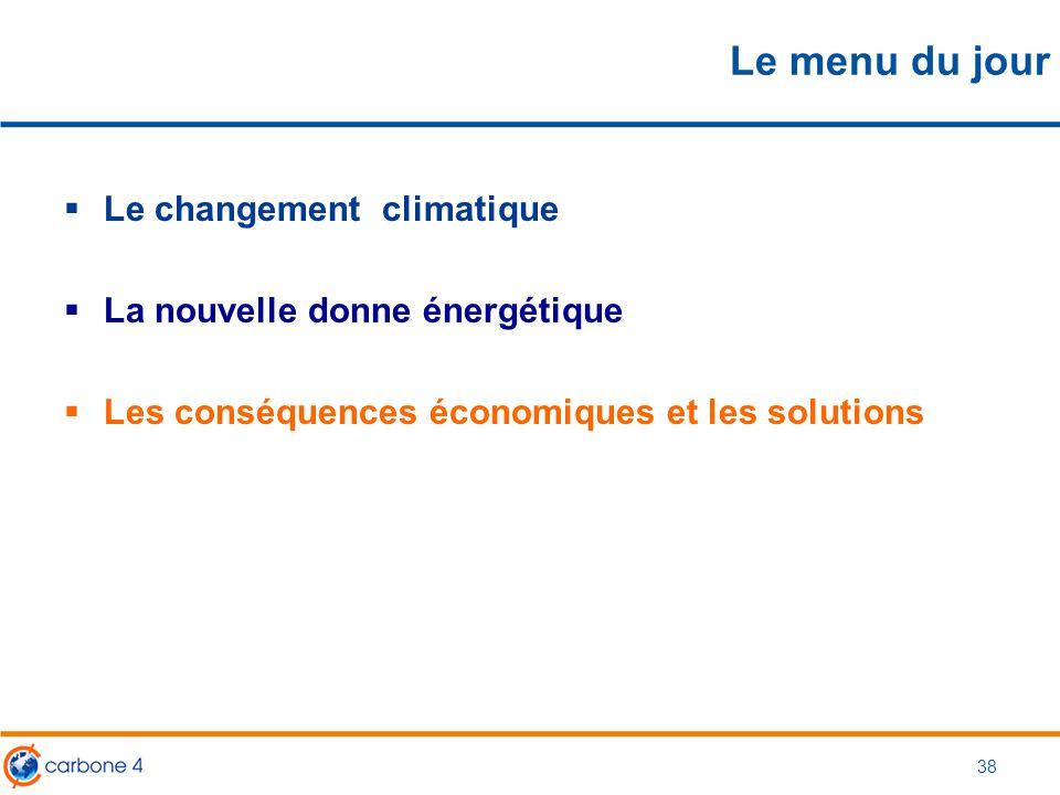 Le menu du jour  Le changement climatique  La nouvelle donne énergétique  Les conséquences économiques et les solutions 38