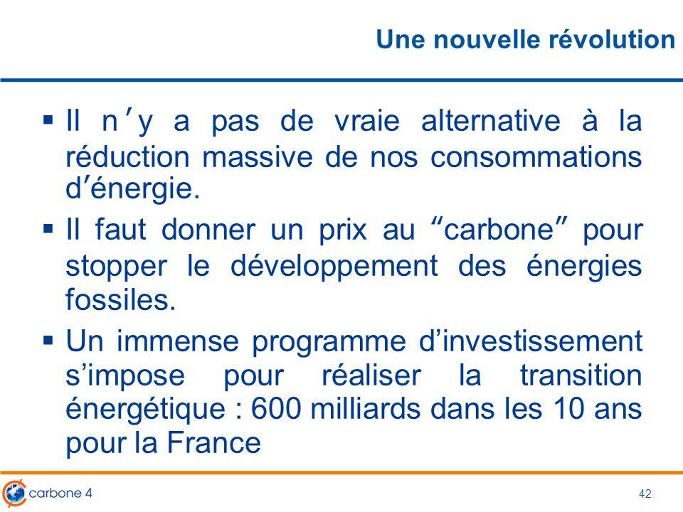"""42 Une nouvelle révolution  Il n'y a pas de vraie alternative à la réduction massive de nos consommations d'énergie.  Il faut donner un prix au """"car"""