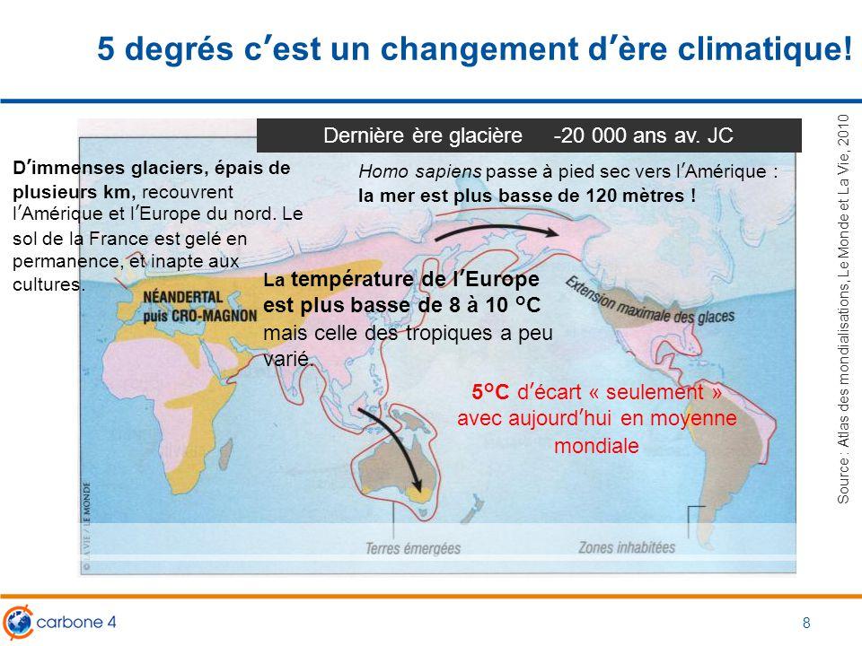 5 degrés c'est un changement d'ère climatique! 8 Source : Atlas des mondialisations, Le Monde et La Vie, 2010 Dernière ère glacière -20 000 ans av. JC