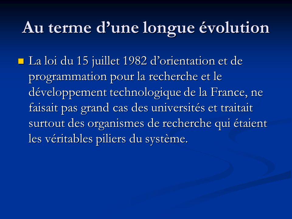Au terme d'une longue évolution La loi du 15 juillet 1982 d'orientation et de programmation pour la recherche et le développement technologique de la