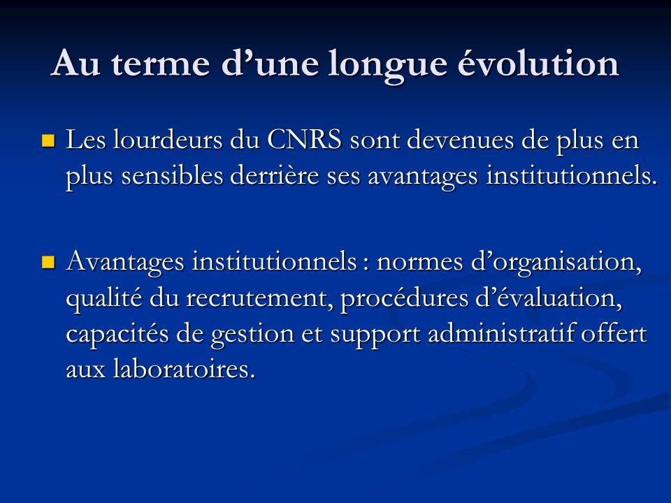 Au terme d'une longue évolution Les lourdeurs du CNRS sont devenues de plus en plus sensibles derrière ses avantages institutionnels. Les lourdeurs du