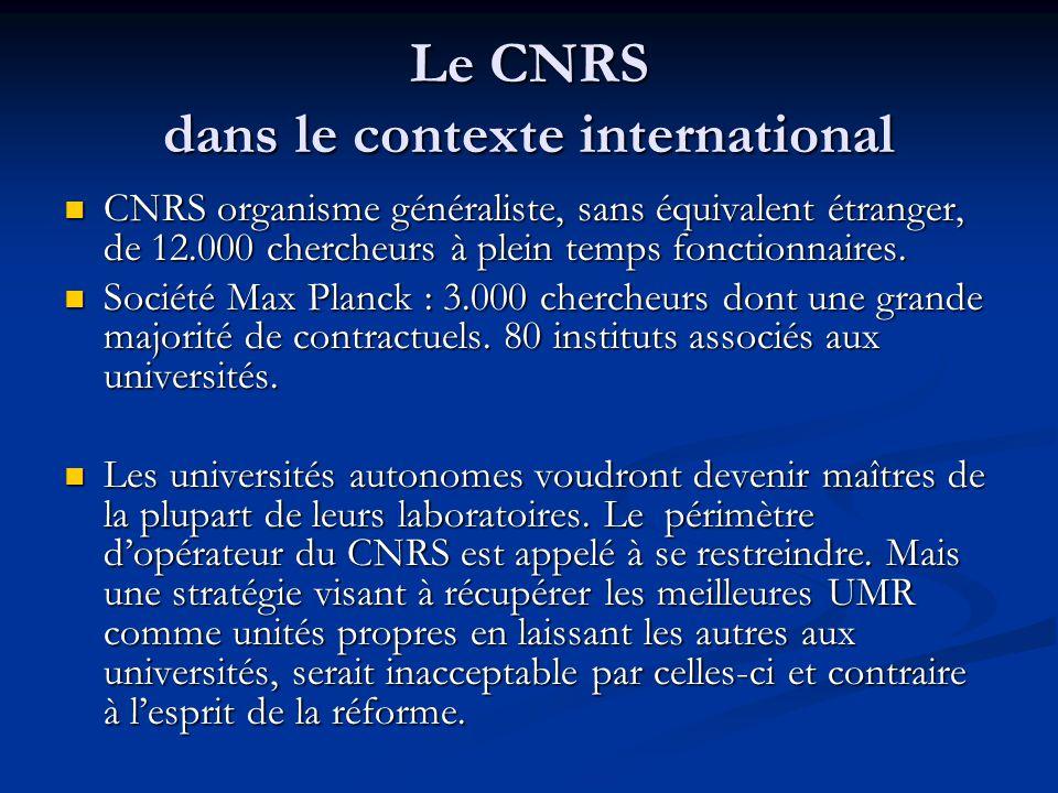 Le CNRS dans le contexte international CNRS organisme généraliste, sans équivalent étranger, de 12.000 chercheurs à plein temps fonctionnaires. CNRS o