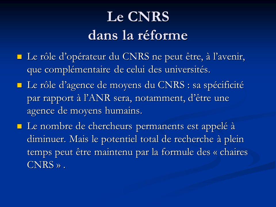 Le CNRS dans la réforme Le rôle d'opérateur du CNRS ne peut être, à l'avenir, que complémentaire de celui des universités. Le rôle d'opérateur du CNRS