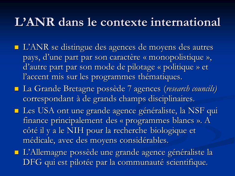 L'ANR dans le contexte international L'ANR se distingue des agences de moyens des autres pays, d'une part par son caractère « monopolistique », d'autr