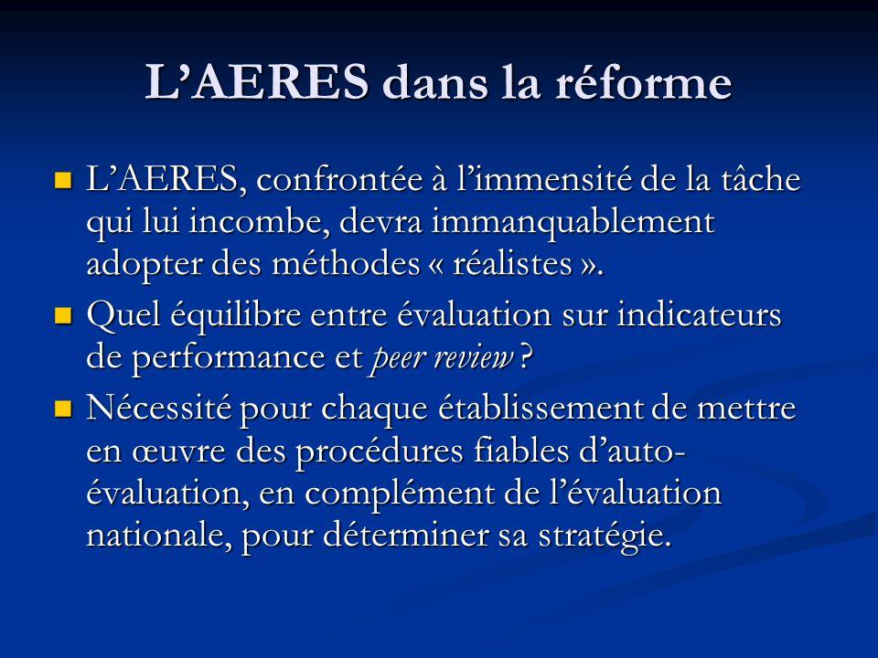 L'AERES dans la réforme L'AERES, confrontée à l'immensité de la tâche qui lui incombe, devra immanquablement adopter des méthodes « réalistes ». L'AER
