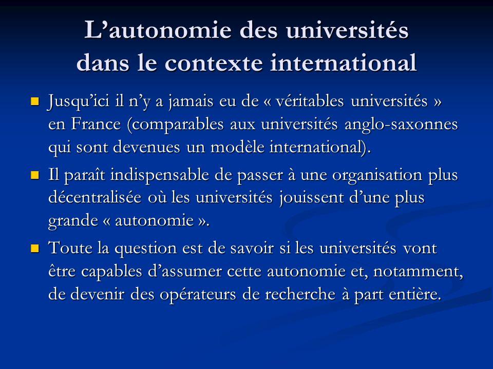 L'autonomie des universités dans le contexte international Jusqu'ici il n'y a jamais eu de « véritables universités » en France (comparables aux unive