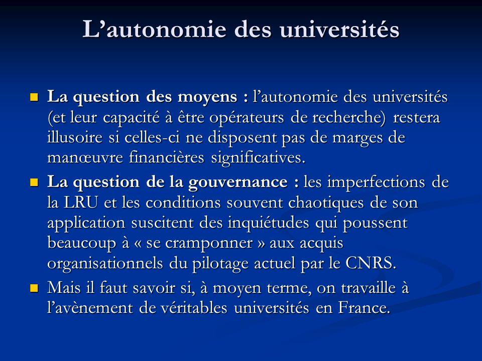 L'autonomie des universités La question des moyens : l'autonomie des universités (et leur capacité à être opérateurs de recherche) restera illusoire s