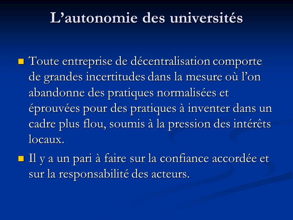 L'autonomie des universités Toute entreprise de décentralisation comporte de grandes incertitudes dans la mesure où l'on abandonne des pratiques norma