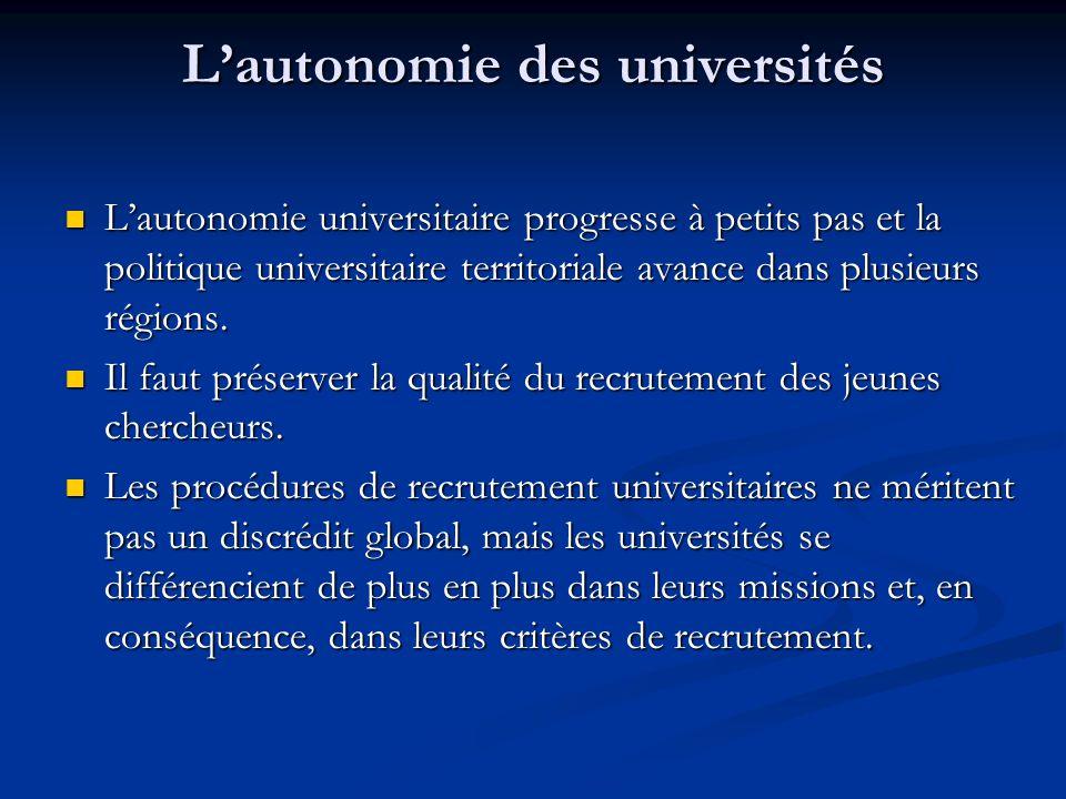 L'autonomie des universités L'autonomie universitaire progresse à petits pas et la politique universitaire territoriale avance dans plusieurs régions.