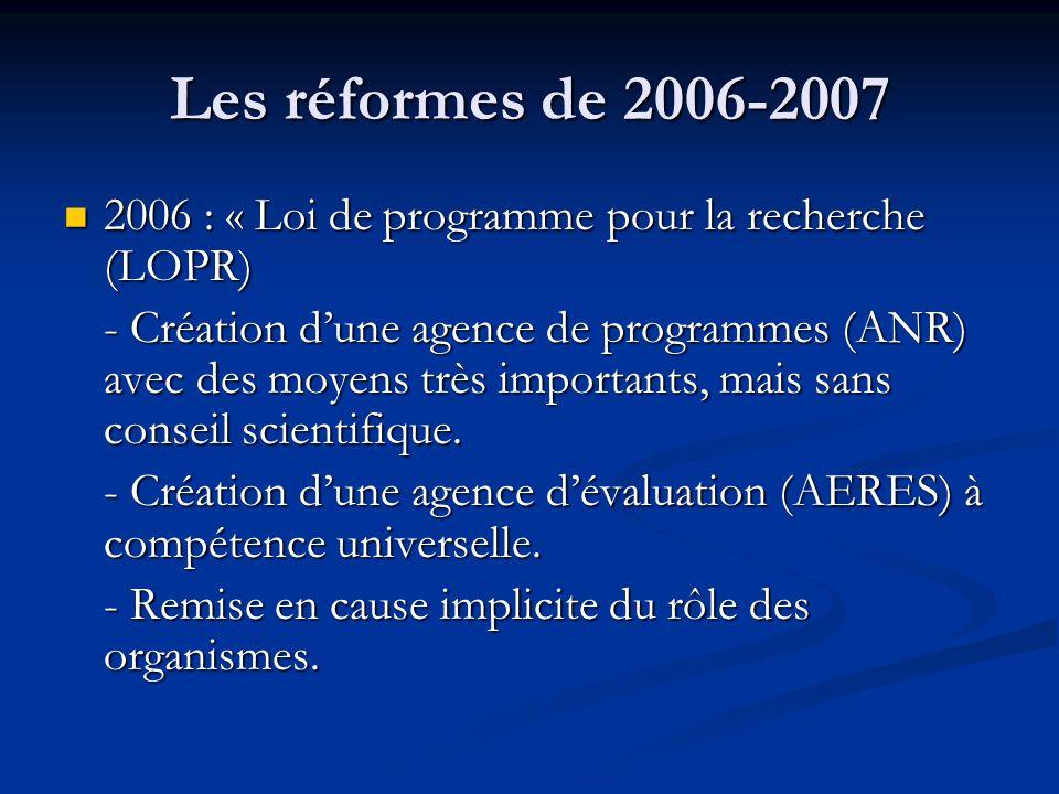 Les réformes de 2006-2007 2006 : « Loi de programme pour la recherche (LOPR) 2006 : « Loi de programme pour la recherche (LOPR) - Création d'une agenc
