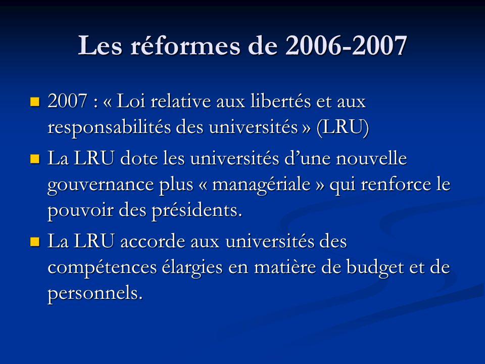 Les réformes de 2006-2007 2007 : « Loi relative aux libertés et aux responsabilités des universités » (LRU) 2007 : « Loi relative aux libertés et aux